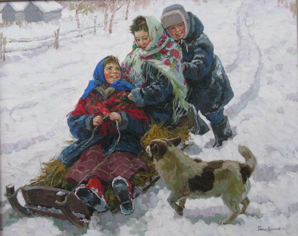 Весёлая зимняя забава - катание с горки на санках
