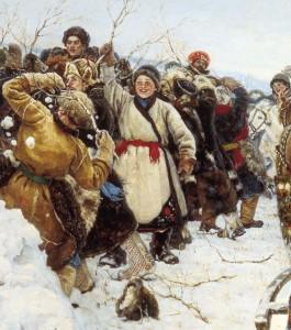 Зимняя масленичная забава - взятие снежного городка
