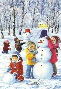 Зимние снежные забавы - ваяние снеговика